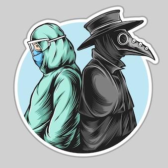 Doktor pest und moderner arzt