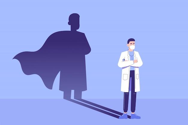 Doktor steht selbstbewusst und superheldenschatten erscheint hinter an der wand