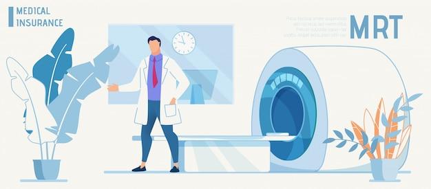Doktor stellt moderne ausrüstung für mrt-diagnose vor