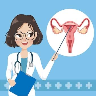 Doktor stellt wissen über gebärmutterhalskrebsversorgung vor.