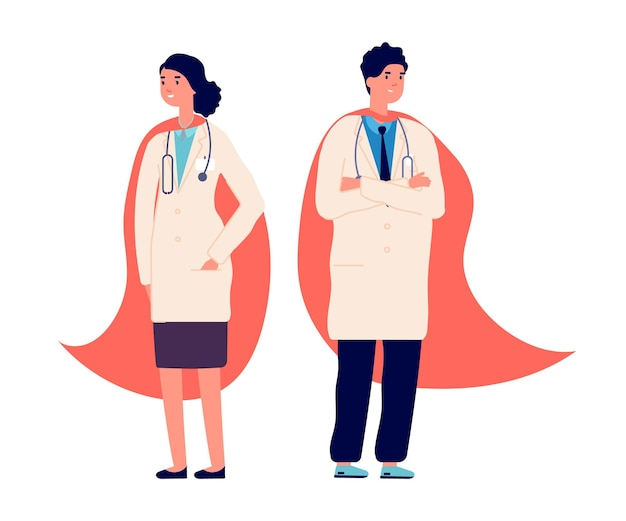 Doktor superheld. ärzteteam, ärzte tragen ein rotes superhelden-umhang. krankenhausangestellter, krankenschwester notfallpersonal. medizinschutzleben bei viruspandemie, gesundheitsvektorillustration. superhelden-pandemie