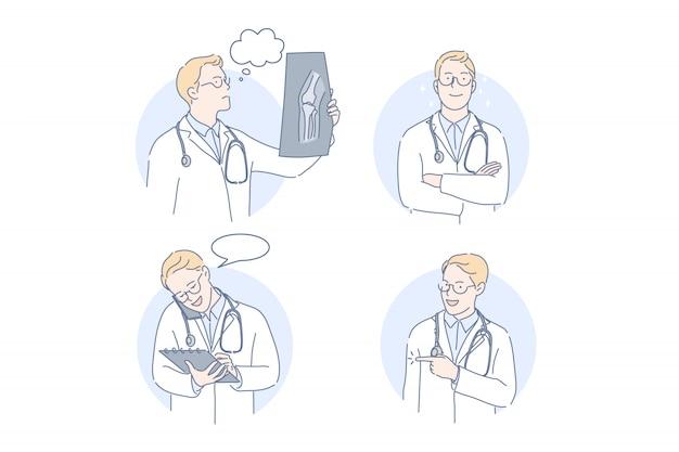 Doktor, therapeut, gesetztes konzept der medizin