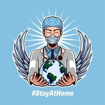 Doktor trägt maske und hält welt, um den menschlichen kampf gegen das corona-virus zu unterstützen