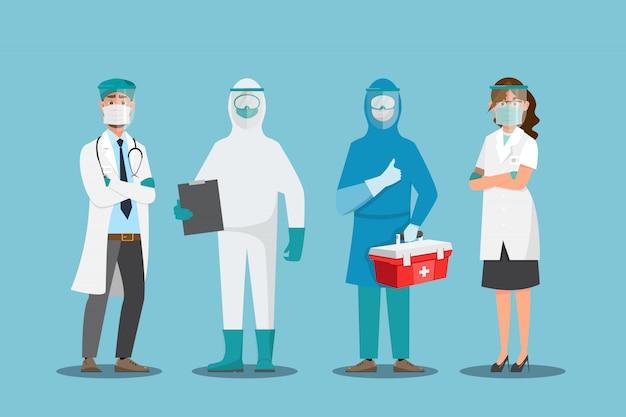 Doktor tragen maske in verschiedenen charakter. medizinisches konzept.