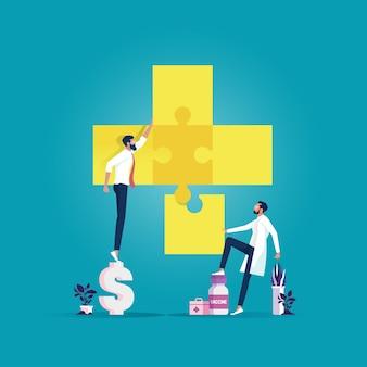 Doktor und geschäftsmann setzen die medizinische ikone des puzzles zusammen. team metapher. menschen, die puzzle-elemente verbinden. symbol der teamarbeit
