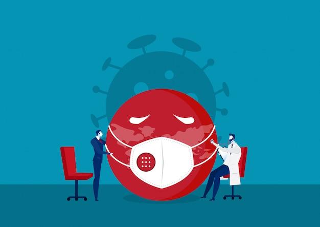 Doktor und geschäftsmann update überprüfen virus corona auf das weltkonzept.