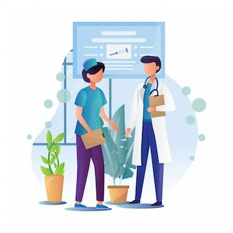 Doktor und krankenschwester illustration mit flachem stil