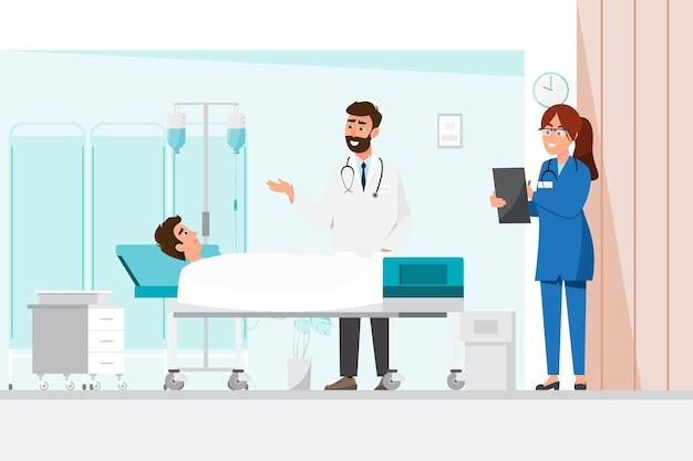 Doktor und krankenschwester stehen mit einem mann, der sich für das bett hinlegt. illustration in einer flachen zeichentrickfigur