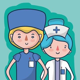 Doktor und krankenschwester, um leuten zu helfen