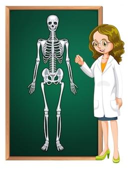 Doktor und menschliches Skelett an Bord