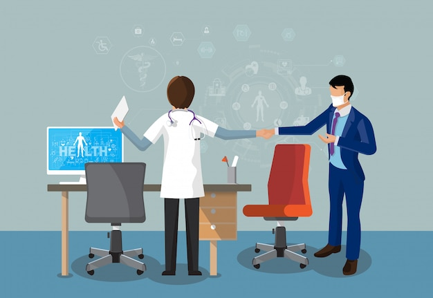 Doktor und patient standing shake hands am schreibtisch und arbeiten