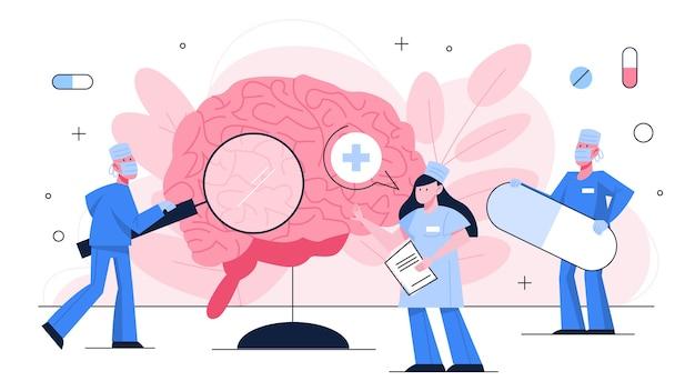 Doktor untersuchen riesiges gehirn. idee der medizinischen behandlung und gesundheitsversorgung. behandlung von kopfschmerzen und migräne. illustration mit stil