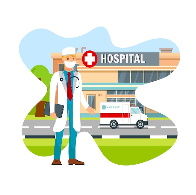 Doktor wearing surgical face mask flat vector