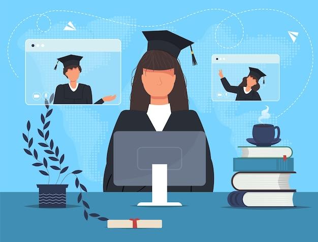 Doktorand im mantel mit computer und büchern