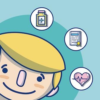 Doktorbesetzung mit der netten und zarten karikatur der medizinischen werkzeuge