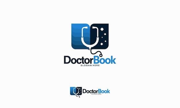 Doktorbuch-logo entwirft konzeptvektor, logoschablone der doktoruniversität, schullogo