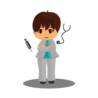Doktorcharakter, der mit spritze und stethoskop corona-virus medizinarbeiter steht