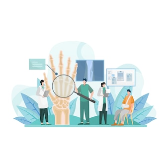 Doktorcheck der gebrochenen finger isolierte flache illustration
