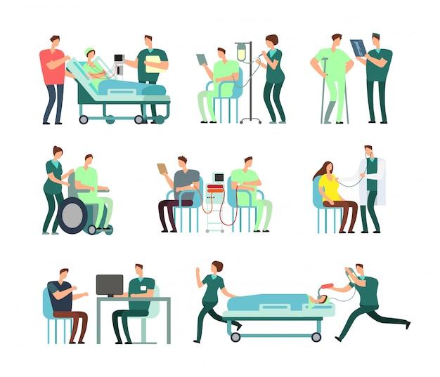 Doktoren, arzthelferin und patienten in der krankenhausaktivität vector leute für gesundheitswesenkonzepte