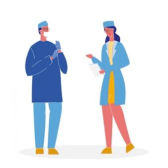Doktoren in der einheitlichen karikatur-vektor-illustration