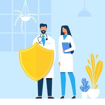 Doktoren schützen menschliche gesundheits-metapher