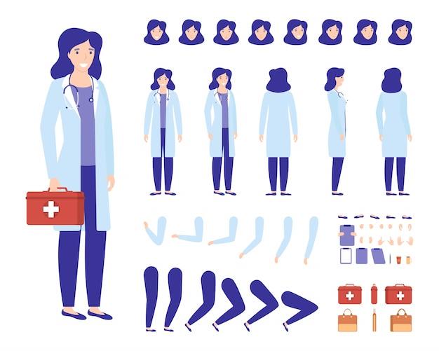 Doktorfrau-charakterkonstruktor für animationsillustrationssatz, medizinische medizinfrau der medizinischen karikatur, körperteile, aktionen