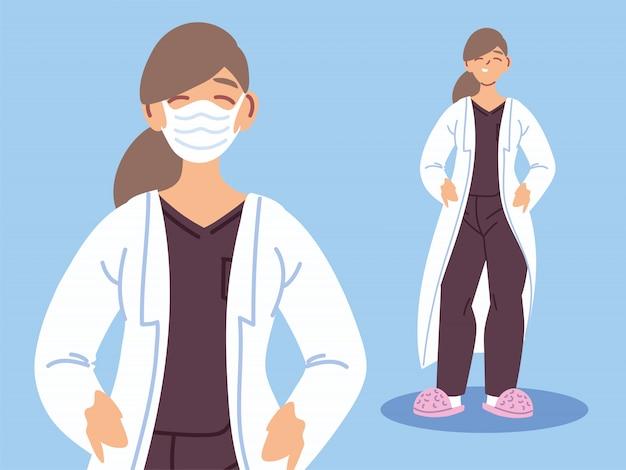 Doktorfrau mit gesichtsmaske