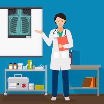 Doktorfrau mit röntgenstrahl auf stand