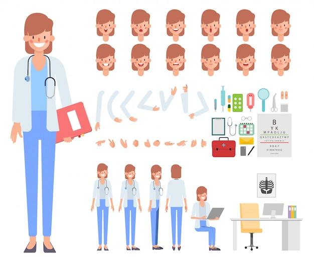 Doktorfrauencharakter bereit zum animationsmund.