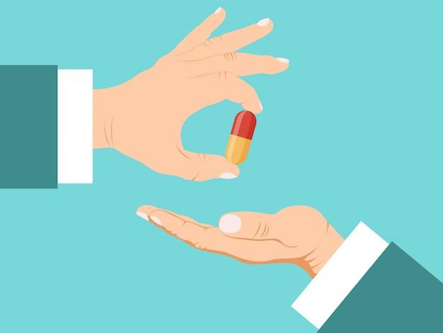 Doktorhand, die der geduldigen illustration pillen gibt. apotheker hände geben tabletten patienten. einnahme von pille und behandlungskonzept.