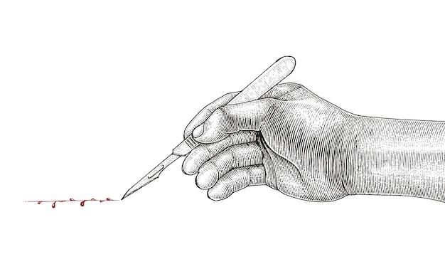 Doktorhand, die skalpell, weinleseart der chirurgischen zeichnung auf weißem hintergrund hält