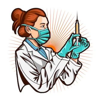 Doktormädchen mit impfstoff lokalisiert auf weißem hintergrund