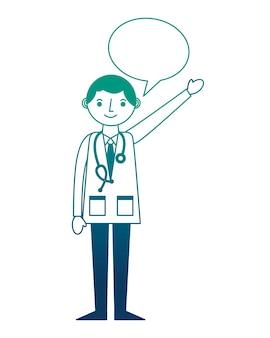 Doktorprofi mit stethoskop in der mantelspracheblase