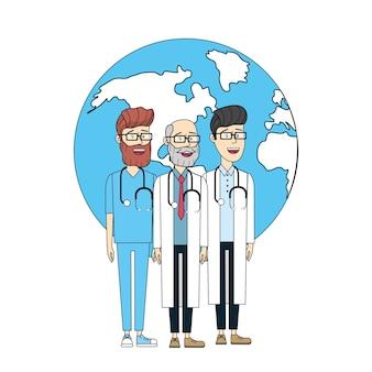 Doktorstethoskop mit der gesundheit der globalen planetenmänner