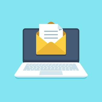 Dokument e-mail auf notebook