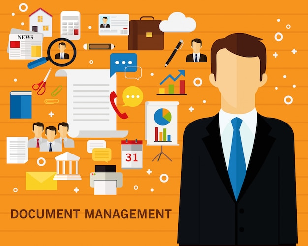 Dokument management konzept hintergrund