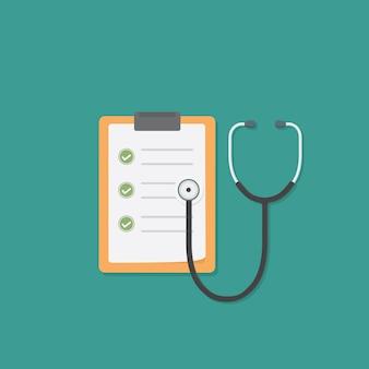 Dokument mit ergebnissen von labortests und stethoskop