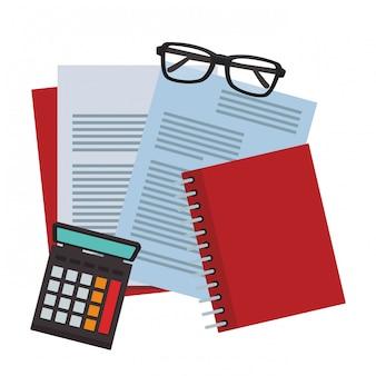 Dokumente mit brille und taschenrechner