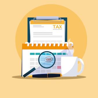 Dokumente und büroausstattung