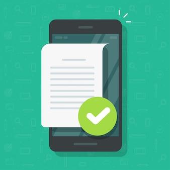 Dokumentendateiseite mit häkchen auf der handy- oder textdateianmerkung bestätigte mit häkchen auf flacher karikaturillustration des mobiltelefons