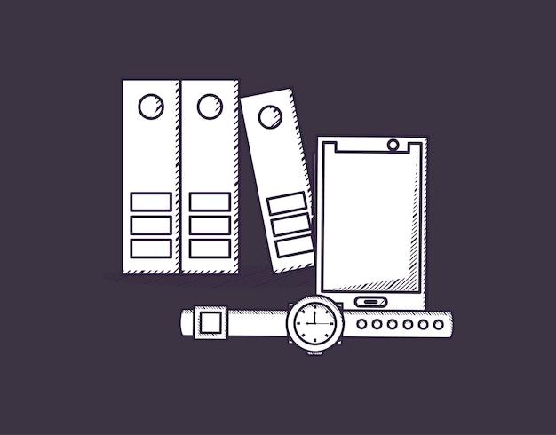 Dokumentenmappen mit smartphone und uhr