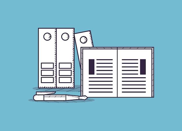 Dokumentenmappen und buch