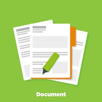 Dokumentenpapiere auf firmenmappe