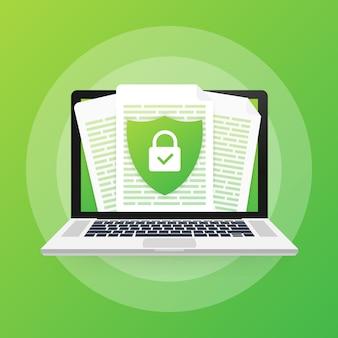 Dokumentenschutzkonzept, vertrauliche informationen und datenschutz. sichern sie die daten mit einer papierrolle und einem schutzschild