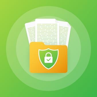 Dokumentenschutzkonzept, vertrauliche informationen und datenschutz. sichern sie ihre daten mit einer papierrolle und einem schutzschild.