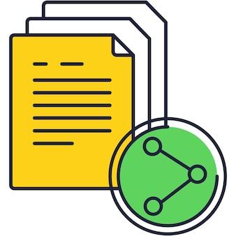 Dokumentfreigabe-symbolvektor isoliert auf weiß