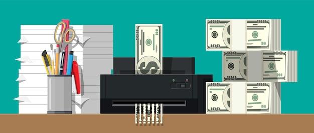 Dollar-banknote im aktenvernichter. zerstörung kündigung geld schneiden. geld verlieren oder zu viel ausgeben.