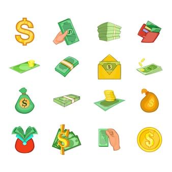 Dollar-elementsatz. karikatursatz dollar-vektorelemente
