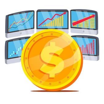 Dollar mit diagrammdiagramm