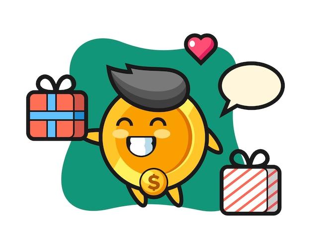 Dollar-münz-maskottchen-karikatur, die das geschenk gibt